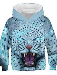 abordables -Enfants Garçon Actif Chic de Rue Imprimé Léopard 3D Imprimé Manches Longues Pull à capuche & Sweatshirt Arc-en-ciel / Animal