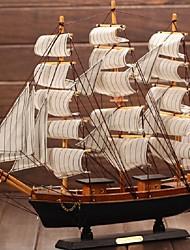 cheap -Mediterranean Wooden Crafts Sailing Boat Figurine Ornament Vintage Simulation Sailboat Model Ship Random Color