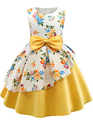 cheap -Princess Above Knee / Knee Length Flower Girl Dress - Polyester / Polyester / Cotton Blend Sleeveless Jewel Neck with Pattern / Print / Sash / Ribbon / Ruffles