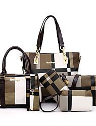 cheap -Women's Pattern / Print / Chain Canvas / PU Bag Set Color Block 6 Pieces Purse Set Black / Blue / Red