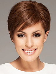 cheap -Human Hair Capless Wigs Human Hair Straight / Natural Straight Pixie Cut / Asymmetrical / Short Hairstyles 2019 Adjustable / Heat Resistant / Hot Sale Brown Short Capless Wig Women's