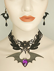 cheap -Women's Black Drop Earrings Choker Necklace Necklace Vintage Style Bat Statement Vintage Trendy Gothic Fashion Earrings Jewelry Black For Halloween Club 1 set