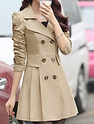 cheap -Women's Daily Fall & Winter Regular Coat, Solid Colored Notch Lapel Long Sleeve Polyester Black / Wine / Blushing Pink