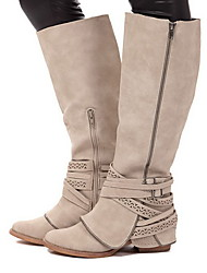 cheap -Women's Boots Low Heel Round Toe PU Mid-Calf Boots Fall & Winter Brown / Beige / Gray