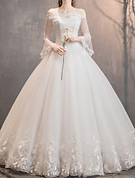 cheap -A-Line Off Shoulder Floor Length Lace / Tulle 3/4 Length Sleeve Made-To-Measure Wedding Dresses with Appliques 2020