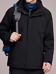 cheap -Men's Hiking 3-in-1 Jackets Hiking Jacket Winter Outdoor Waterproof Windproof Warm Soft Jacket Top Camping / Hiking / Caving Traveling Black / Orange / Red / Blue