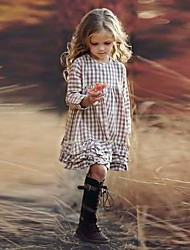 cheap -Kids Girls' Houndstooth Print Long Sleeve Knee-length Dress Beige