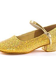 cheap -Girls' Dance Shoes Synthetics Modern Shoes/Character Shoes Glitter Heel Cuban Heel Customizable Gold / Silver