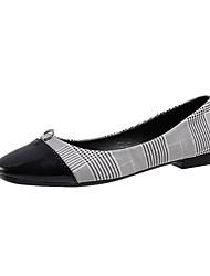 cheap -Women's Flats Flat Heel Square Toe PU Casual Fall Black / White
