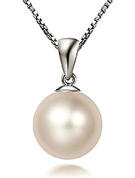 cheap -Pendant Necklace Women's Classic Pearl Silver Plated Classic Cute Silver 40-45 cm Necklace Jewelry 1pc for Daily
