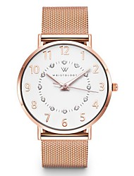 cheap -Women's Quartz Watches Quartz New Arrival Chronograph Stainless Steel PU Leather White / Silver / Grey Analog - Rose Gold White Blushing Pink One Year Battery Life