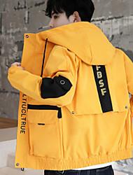 cheap -Men's Daily / Beach Fall / Winter Regular Jacket, Color Block Hooded Long Sleeve Polyester Black / Yellow / Beige