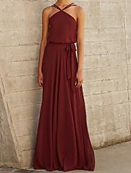 cheap -A-Line Halter Neck Floor Length Chiffon Bridesmaid Dress with Pleats