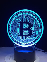 cheap -3D Led Lamp Bitcoin Sign modeling night lights 7 colors Usb coin desk lamp baby bedroom sleep lighting fixture Decoration gifts