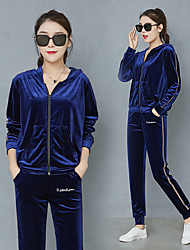 cheap -Women's Full Zip Velour Tracksuit 2pcs Winter Running Fitness Sportswear Breathable Warm Soft Clothing Suit Long Sleeve Activewear Stretchy Regular Fit / Velvet