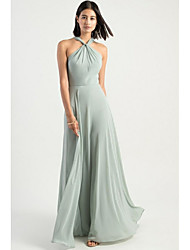 cheap -A-Line Halter Neck Floor Length Chiffon Bridesmaid Dress with Criss Cross / Open Back