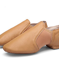 cheap -Women's Jazz Shoes Pigskin Flat Flat Heel Customizable Dance Shoes Black / Camel / Practice