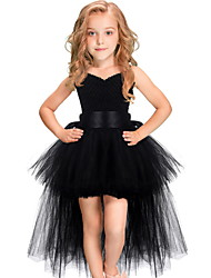 cheap -Kids Girls' Cute Solid Colored Dress Black