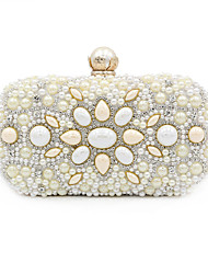 cheap -Women's Beading / Crystals Polyester / Alloy Evening Bag Geometric Pattern Beige