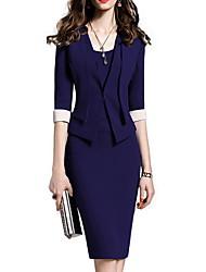 cheap -Women's Elegant Slim Bodycon Dress - Solid Colored V Neck Blue Royal Blue S M L XL