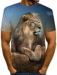 cheap -Men's Daily Holiday Vintage / Rock T-shirt - Color Block / 3D / Animal Lion, Print Brown