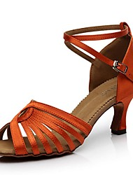 cheap -Women's Latin Shoes Synthetics Heel Slim High Heel Dance Shoes Black / Orange / Coffee / Performance