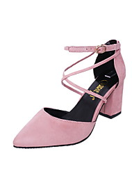 cheap -Women's Heels Chunky Heel Pointed Toe PU Summer Black / Pink / Gray