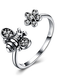 cheap -Women's Adjustable Ring 1pc Silver Platinum Plated Unique Design European Trendy Gift Daily Jewelry Floral Theme Cute