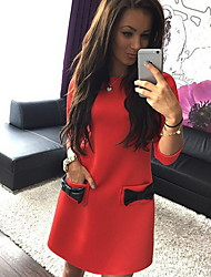 cheap -Women's Daily Wear Sheath Dress - Solid Colored Bow Black White Red S M L XL