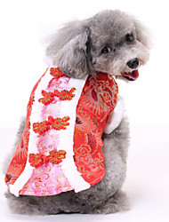 cheap -Dogs Cats Pets Dress Dog Clothes Fuchsia Red Blue Costume Polyster Print Ethnic New Year's XS S M L XL XXL
