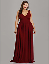 cheap -A-Line V Neck Floor Length Chiffon Plus Size / Red Formal Evening / Wedding Guest Dress with Pleats 2020