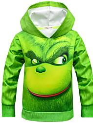 abordables -Enfants Garçon Chic de Rue Imprimé Manches Longues Coton Pull à capuche & Sweatshirt Vert