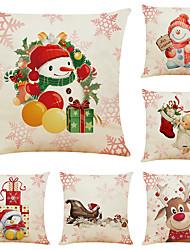 cheap -Set of 6 Snowman Elk  Christmas Linen Square Decorative Throw Pillow Cases Sofa Cushion Covers 18x18
