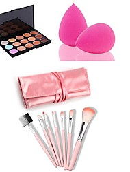 abordables -15 couleurs Crème Correcteur / Contour Pinceaux de Maquillage Sec / Mélange / Huileux Longue Durée / Correcteur Visage Maquillage Cosmétique