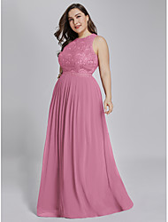 cheap -A-Line Jewel Neck Floor Length Chiffon / Lace Plus Size Formal Evening Dress with Lace Insert 2020