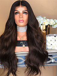 cheap -Synthetic Wig kinky Straight Middle Part Wig Long Dark Brown / Dark Auburn Synthetic Hair 22 inch Women's Women Dark Brown