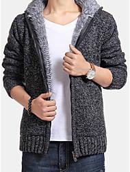 cheap -Men's Solid Colored Long Sleeve Cardigan Sweater Jumper, Hooded Dark Gray M / US36 / UK36 / EU44 / L / US38 / UK38 / EU46 / XL / US40 / UK40 / EU48