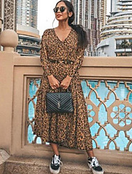 cheap -Women's Maxi Brown Dress Swing Leopard V Neck S M