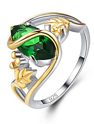cheap -Women's Band Ring Ring Crystal 1pc Green Blue Brass Copper Rose Gold Plated Statement Luxury Classic Party Jewelry Classic Joy Cool