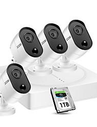 Недорогие -ZOSI 8-канальная система видеонаблюдения 4x1080p 2-мегапиксельная уличная камера видеонаблюдения DVR Kit с датчиком PIR камера домашней безопасности