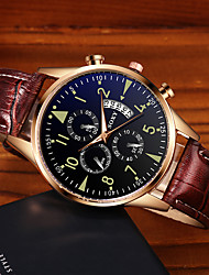 cheap -Men's Dress Watch Quartz Stylish PU Leather Black / Brown Calendar / date / day Noctilucent Analog Fashion - Black Bronze Black / Rose Gold One Year Battery Life / Stainless Steel