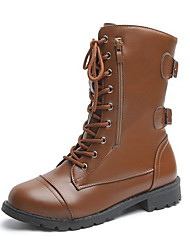 cheap -Women's Boots Low Heel Round Toe Leather Mid-Calf Boots Fall & Winter Black / Brown
