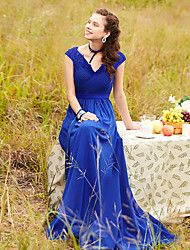 cheap -A-Line V Neck Floor Length Chiffon Empire / Blue Formal Evening / Wedding Guest Dress with Appliques 2020