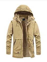 cheap -Men's Daily / Beach Winter Regular Coat, Solid Colored Hooded Long Sleeve Cotton / Polyester Black / Army Green / Khaki