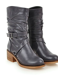 cheap -Women's Boots Block Heel Round Toe PU Mid-Calf Boots Fall & Winter Black / Yellow / Gray
