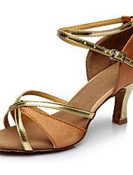 cheap -Women's Dance Shoes Patent Leather Latin Shoes Heel Slim High Heel Customizable Brown