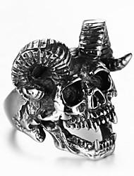 Недорогие -Муж. Кольцо 1шт Черный Сплав Необычные Винтаж модный Этнический Повседневные Бижутерия Старинный Череп Овечья шерсть