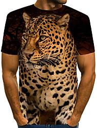 cheap -Men's T shirt Graphic Leopard 3D Animal Print Short Sleeve Daily Tops Vintage Rock Brown