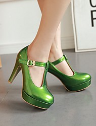 cheap -Women's Heels Chunky Heel Round Toe Buckle Patent Leather Preppy / Minimalism Spring &  Fall / Fall & Winter White / Orange / Green