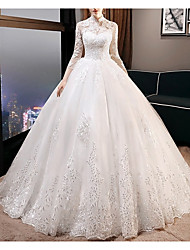 cheap -A-Line High Neck Court Train Lace 3/4 Length Sleeve Vintage See-Through Made-To-Measure Wedding Dresses with Appliques 2020